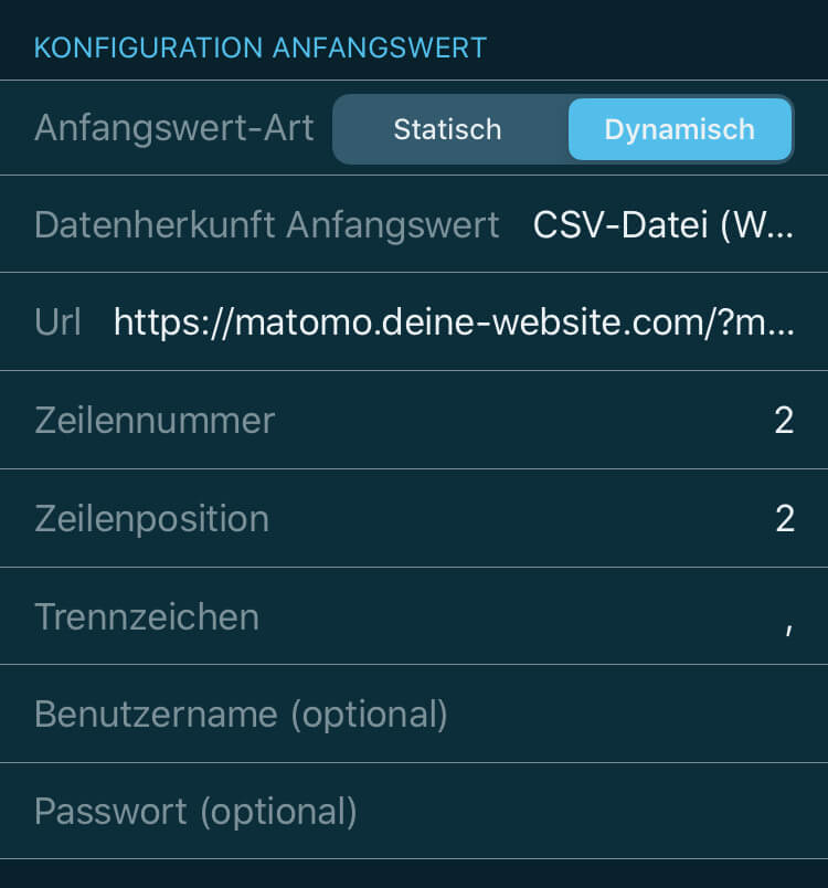 VINIS App Kennzahl Konfiguration Websitebesucher 2