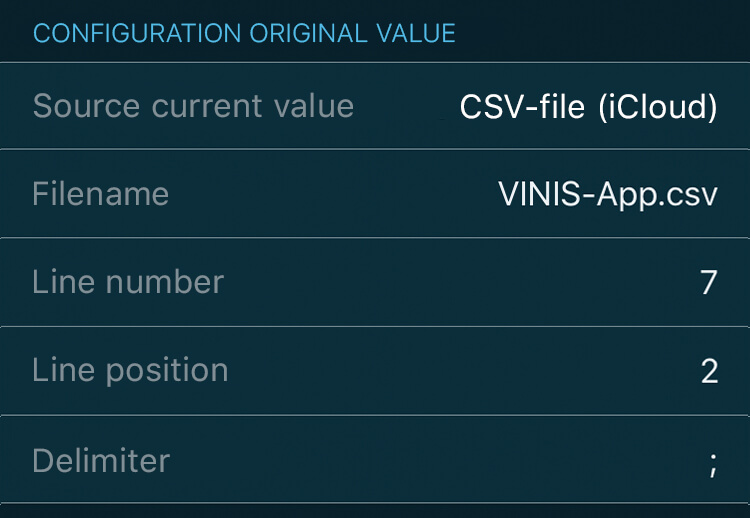 VINIS app key figure configuration for Portfolio Performance