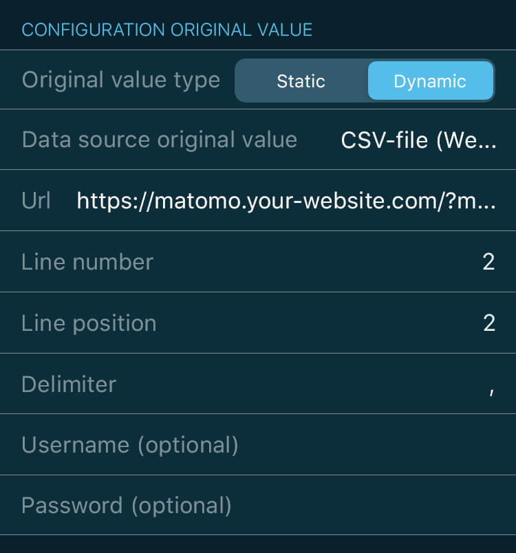 VINIS app key figure configuration for Matomo