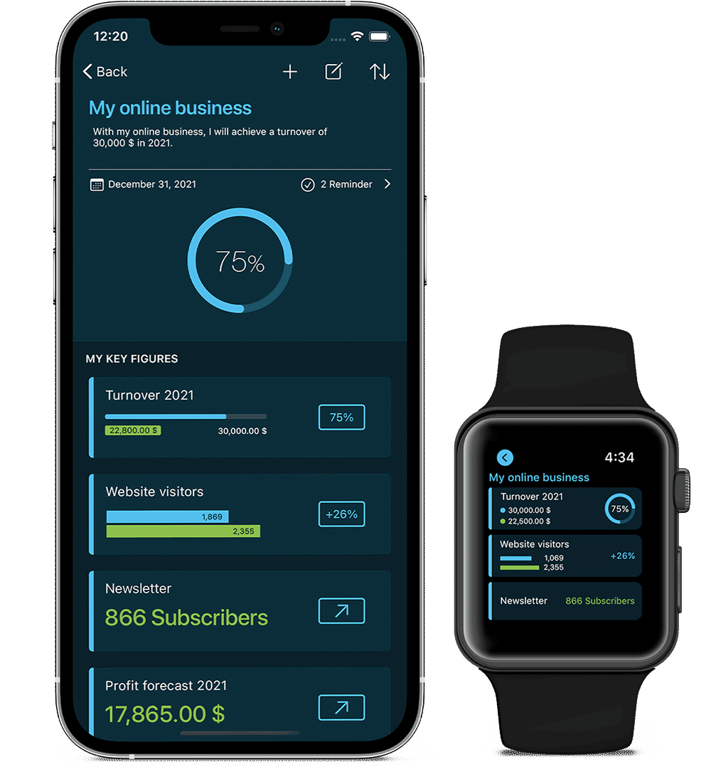 Online business goal in VINIS app with Apple Watch